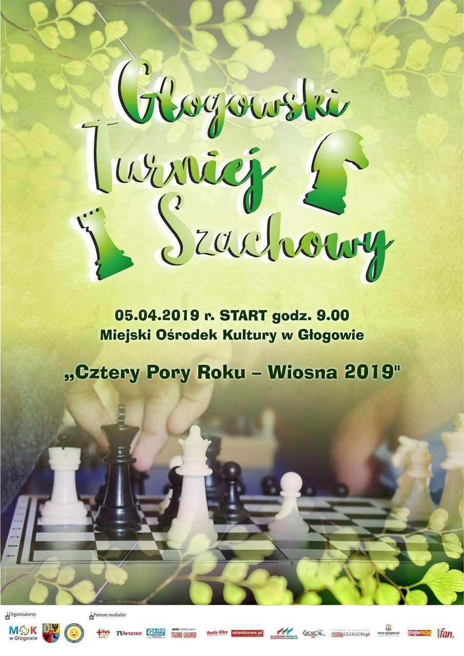 Plakat zapowiadający turniej szachowy - Wiosna 2019