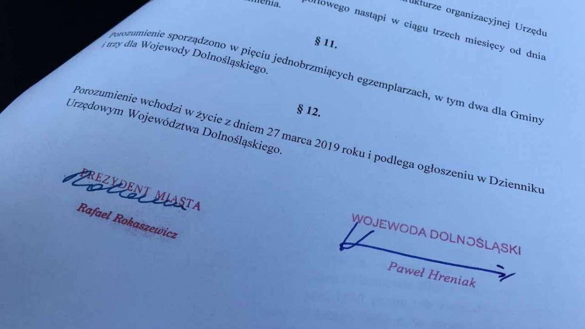 Prezydent Rafael Rokaszewicz i Wojewoda Dolnośląski podpisali porozumienie ws. Biura Paszportowego w Dolnośląskim Urzędzie Wojewódzkim we Wrocławiu