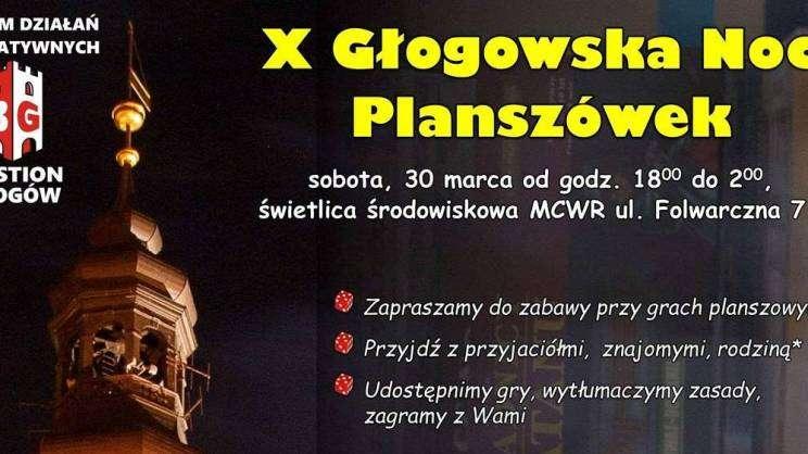 plakat zapraszający na wydarzenie - 10 głogowska noc planszówek