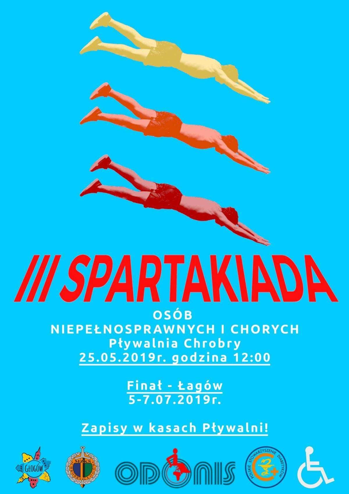 Plakat zapraszający na III Spartakiadę Osób Niepełnosprawnych i Chorych