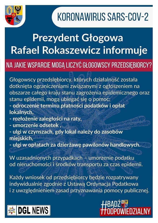 2020-03-25 plakat Prezydent Głogowa Rafael Rokaszewicz informuje - Na jakie wsparcie mogą liczyć głogowscy przedsiębiorcy