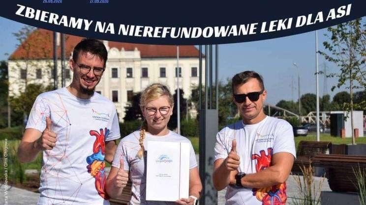 Plakat promujący bieg charytatywny Pomoc dla Joanny. Biegacze z Głogowa wspierają Joannę Konkiel