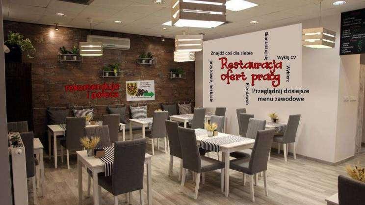 Na zdjęciu znajduje się restauracja Ofert Pracy w Powiatowym Urzędzie Pracy. Na zdjęciu kilka stolików z krzesłami