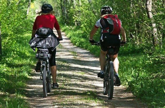 Zdjęcie przestawia dwóch rowerzystów, którzy jadą ścieżką w lesie.