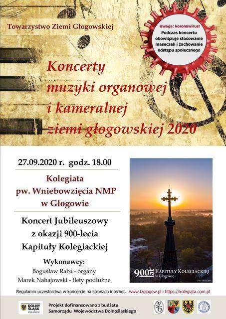 plakat Koncert TZG z okazji 900 lecia kapituly kolegiackiej 22.09.2020 Głogów