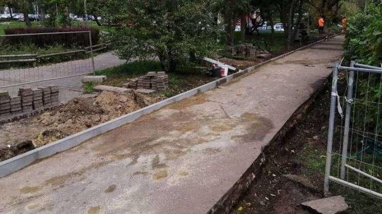 21.10.2020 remont chodnika ul. A.Krajowej, zdj. K. Chudzik