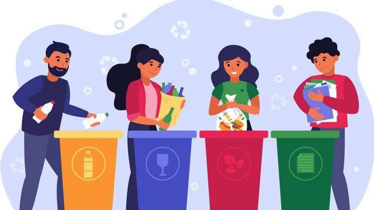 Grafika: ludzie segregujący śmieci