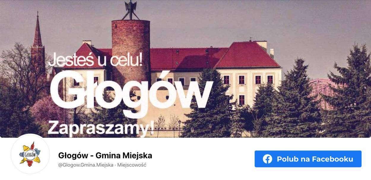 Banner graficzny przekierowujący na stronę Gminy Miejskiej Głogów na Facebooku