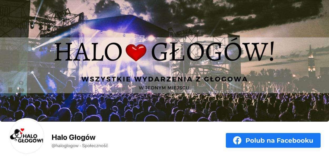 Banner graficzny przekierowujący na stronę społeczności Halo Głogów na Facebooku