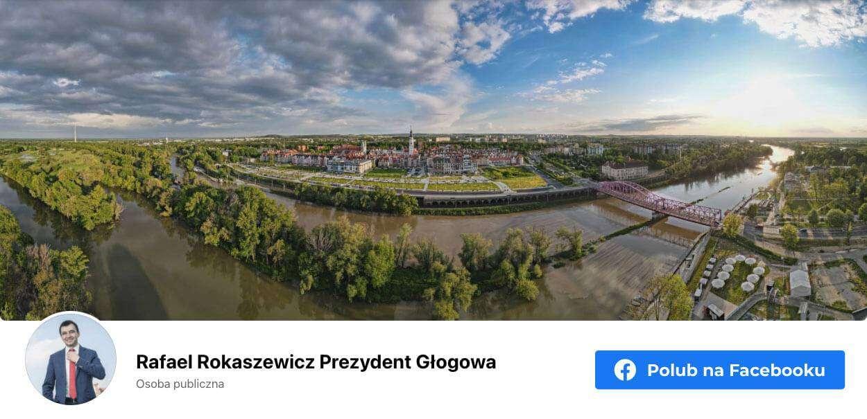 Banner graficzny przekierowujący na stronę prezydenta miasta Rafaela Rokaszewicza na Facebooku