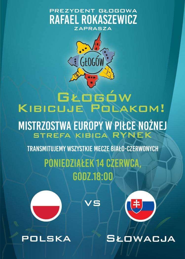 plakat meczu Polska-Słowacja strefa kibica w Głogowie