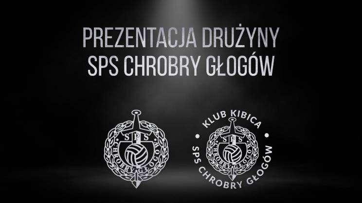 Grafika: prezentacja Drużyny SPS Chrobry Głogów i loga klubu kibica i SPS