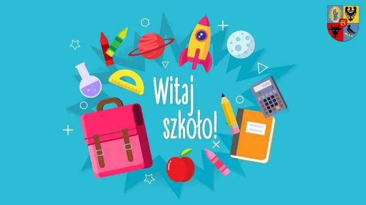 Grafika: witaj szkoło, przybory szkolne i napis Witaj szkoło