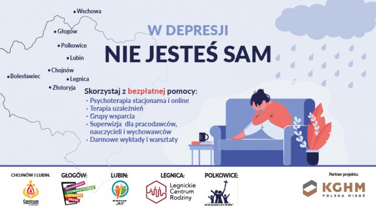 na zdjęciu plakat promujący bezpłatne konsultacje psychologiczne