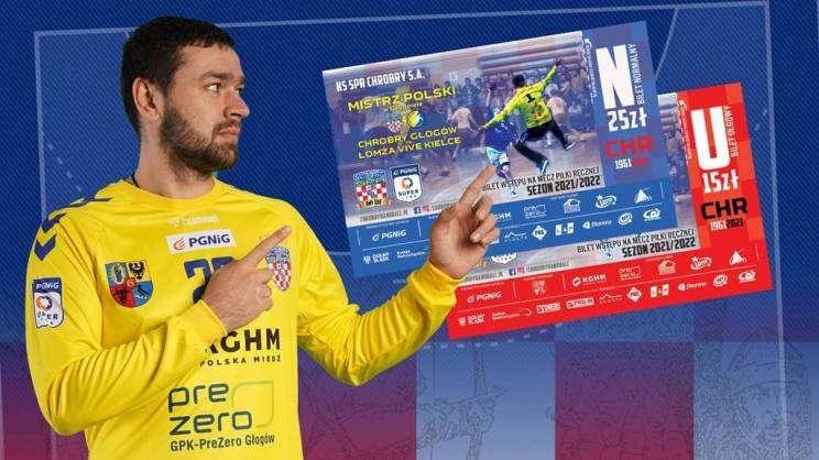 na zdjęciu plakat informujący o przedsprzedaży biletów na mecz SPR Chrobry Głogów i Vive Kielce